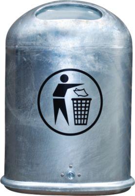 Abfallbehälter oval, 45 Liter, mit selbstschließender Edelstahlklappe, feuerverzinkt
