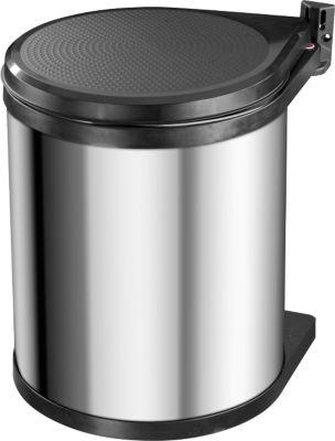 Abfallsammler Hailo Compact-Box M, 15 l, rund, Dreh-Kipp-Deckel, Edelstahl