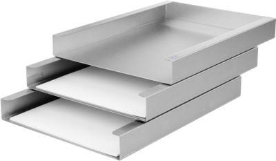 Ablagekorb, DIN A4, 3 Fächer, Edelstahl geschliffen