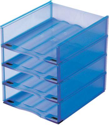 Ablagekorb, DIN A4, Kunststoff, 4 Stück, blau transluzent