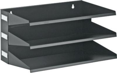 Ablagekorb, DIN A4, Stahl, 3 Fächer, schwarz