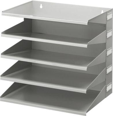 Ablagekorb, DIN A4, Stahl, 5 Fächer, lichtgrau