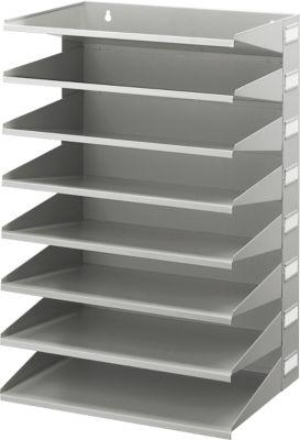 Ablagekorb, DIN A4, Stahl, 8 Fächer, lichtgrau