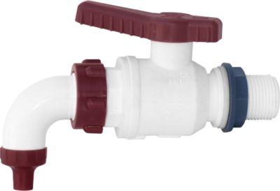 Ablaufhahn, aus Kunststoff, weiß-rot, für Kunststoff-Bottiche und -Tonnen