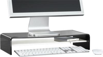 Acryl-Medienträger U-Form mit Boden, 500 x 230 x 100 mm, schwarz/weiß