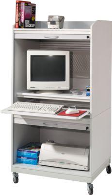 Afsluitbare PC-werkplek, lichtgrijs