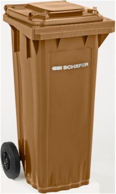 Afvalcontainer PRO 60 WAVE, 60 l, verrijdbaar, bruin