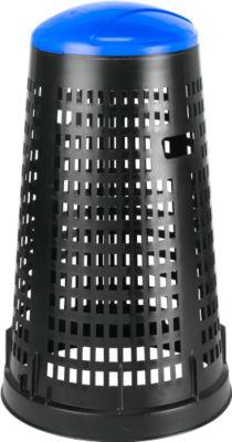 Afvalzakhouder met deksel,  uit polypropeen, van 70 tot 120 liter, zwart/blauw