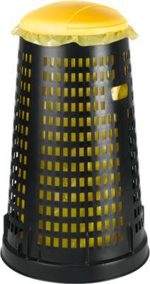 Afvalzakhouder met deksel, uit polypropeen, van 70 tot 120 liter, zwart/geel