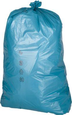 Afvalzakken van HDPE, 23 mµ, 120 liter, blauw, 250 stuks