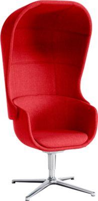 Akoestische belstoel NOW, inclusief akoestische afscherming, rood