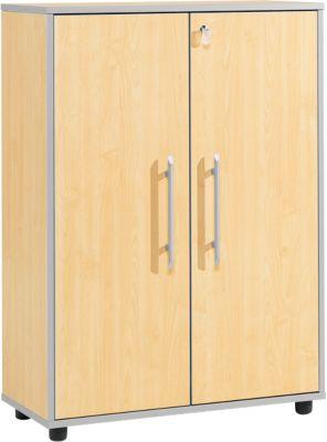 Aktenschrank Moxxo IQ, Holz, 2 Böden, 3 OH, B 801 x T 362 x H 1115 mm, abschließbar, Ahorn-Dekor