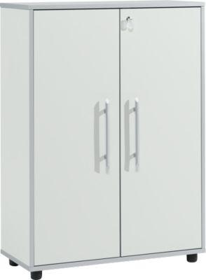 Aktenschrank Moxxo IQ, Holz, 2 Böden, 3 OH, B 801 x T 362 x H 1115 mm, abschließbar, lichtgrau