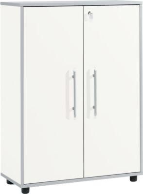Aktenschrank Moxxo IQ, Holz, 2 Böden, 3 OH, B 801 x T 362 x H 1115 mm, abschließbar, weiß