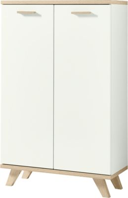 Aktenschrank OSLO, 3 Ordnerhöhen, B 750 x T 370 x H 1220 mm, weiß/Sanremo-Eiche-Nb.