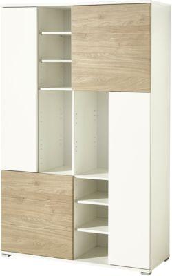 Aktenschrank PASEO, 4 Türen, 8 höhenverstellbare Böden, B 1130 x T 400 x H 1780 mm, eiche/weiß