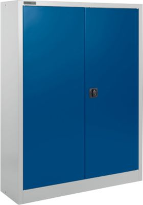 Aktenschrank SSI Schäfer MSI 16409, B 950 x T 400 x H 1535 mm, 3 Böden, Stahl, weißaluminium RAL 9006/enzianblau RAL 5010