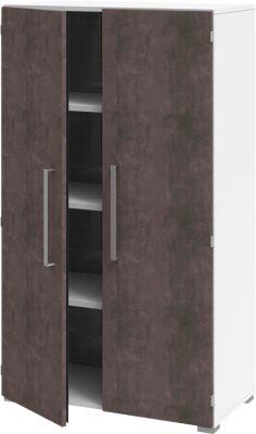 Aktenschrank TEQSTYLE, 4 OH, B 800 x T 419 x H 1465 mm, Weiß/Quarzit