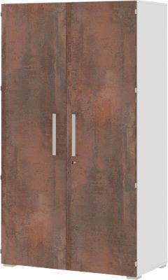 Aktenschrank TEQSTYLE, 6 OH, B 800 x T 419 x H 2185 mm, abschließbar, Oxido/weiß