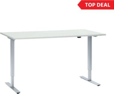 AKTION! Schreibtisch, einstufig elektrisch höhenverstellbar, Rechteck, T-Fuß, B 1600 mm x T 800 x H 705-1205 mm, lichtgrau