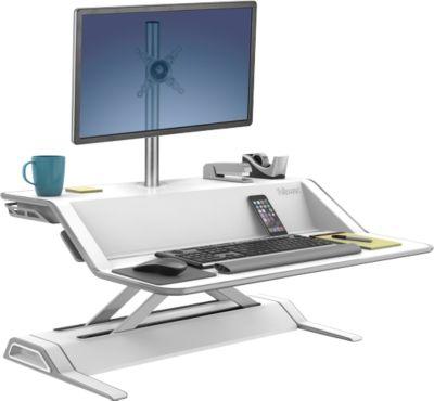 Aktionsset Fellowes Sitz-Steh Workstation™ Lotus, weiß + Gratis Monitorarm