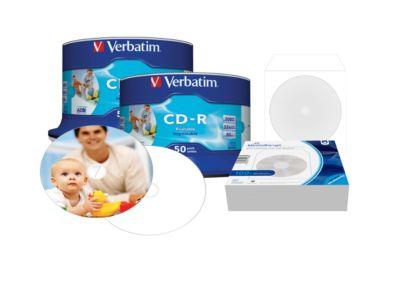 Aktionsset Verbatim CD-R AZO Printable, 700 MB, 50er Spindel Doppelpack + 100 Stück CD Papierhüllen