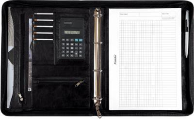 Alassio Ringbuchmappe Massa, DIN A4, Kunstleder, mit Rechner, schwarz
