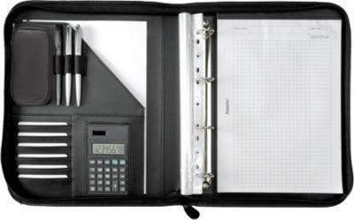 Alassio Ringbuchmappe Riccione, DIN A4, FINEtouch-Lederimitat, mit Rechner, schwarz