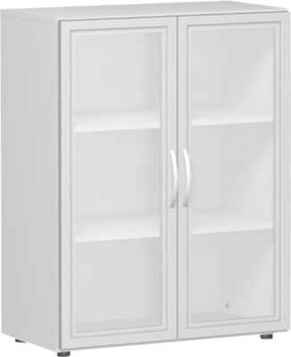 ALICANTE glasdeurenkast, 3 OH, b 800 x d 420 x h 1104 mm, lichtgrijs