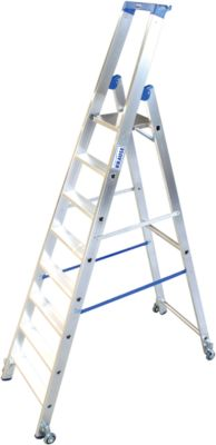 Alu-Stufenstehleiter, fahrbar, 8 Stufen