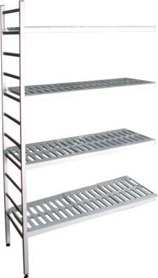 Aluminium-Steckregal, Anbaufeld, mit 4 Kunststoff-Rost-Fachböden, H 1800 x B 800 x B 400 mm