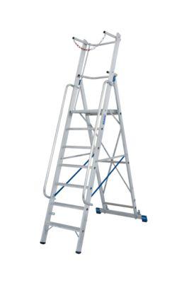 Aluminium trapladder, met groot platform, met veiligheidsbeugel en ketting, 4 treden