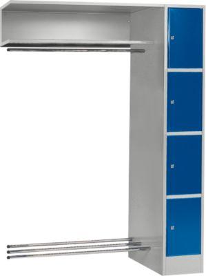 Anbaueinheit, Schließfach-Garderobe, Säule S 4/4, hellsilber/enzianblau