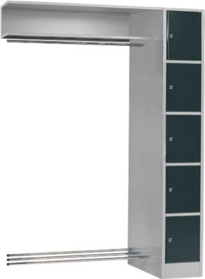 Anbaueinheit, Schließfach-Garderobe, Säule S 4/5, hellsilber/anthrazit