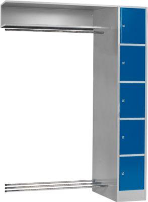 Anbaueinheit, Schließfach-Garderobe, Säule S 4/5, hellsilber/enzianblau