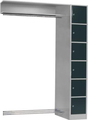 Anbaueinheit, Schließfach-Garderobe, Säule S 4/6, hellsilber/anthrazit