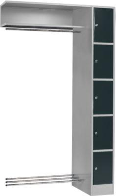 Anbaueinheit, Schließfach-Garderobe, Säule S 5, hellsilber/anthrazit
