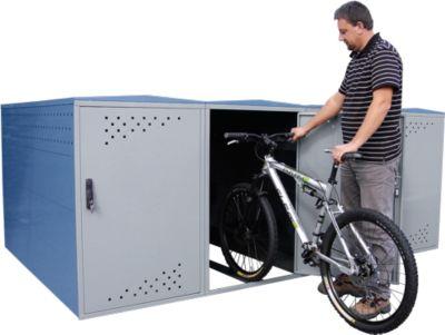 Anbausatz mit Seitenwand für Fahhradgarage BikeBox 1 B mit Bogendach, fernblau RAL 5023