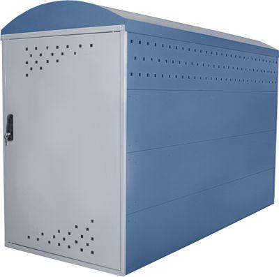 Anbausatz ohne Seitenwand für Fahhradgarage BikeBox 1 B mit Bogendach, fernblau RAL 5023