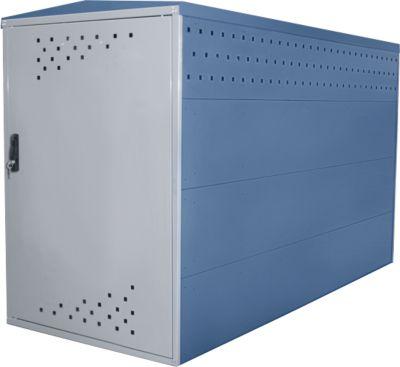 Anbausatz ohne Seitenwand für Fahrradgarage BikeBox 1 G mit Giebeldach, fernblau RAL 5023
