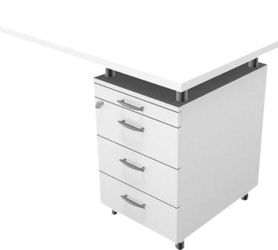 Anbautisch mit Standcontainer PHENOR, recht/links montierbarr, weiß