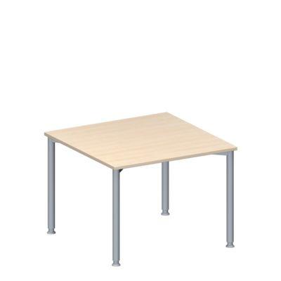 Anbautisch MODENA FLEX, höhenverstellbar, Quadrat-Form, 4-Fuß Rundrohr,  B 1000 x T 1000 mm, Ahorn-Dekor