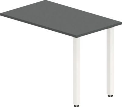Anbautisch NEVADA, Quadratrohrfuß, B 1000 x T 600 x H 740 mm, dunkelgrau/weiß