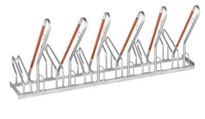 Anlehnparker WSM, 1-seitig, für Reifen bis B 55 mm, B 2100 x T 385 x H 815 mm, Stahl verzinkt, 6 Einstellplätze