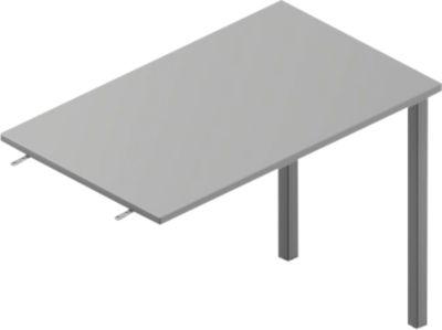 Ansatztisch ARLON-OFFICE, B 1000 x T 600 x H 730 mm, lichtgrau