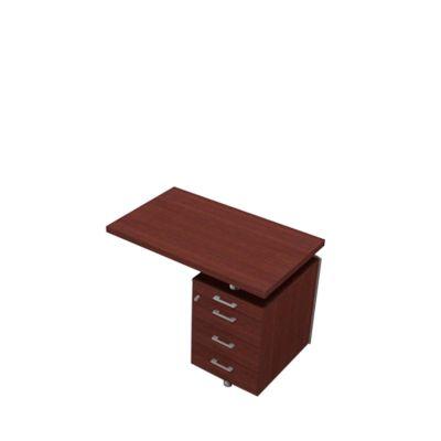 Ansatztisch mit Container X-TIME-WORK, Wangen, Rechteck, B 1000 x T 600 x H 730 mm, Wenge-Dekor/alu