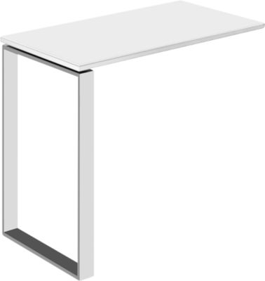 Ansatztisch Nizza, mit Weißglas, T 848 mm, für Schreibtisch Nizza, weiß matt/weißglas matt