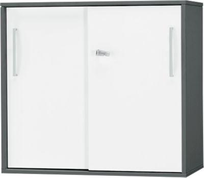 Anstell-/Aufsatz-Schiebetürenschrank SET UP, 2 OH, B 800 x T 420 x H 726 mm, graphit/weiß