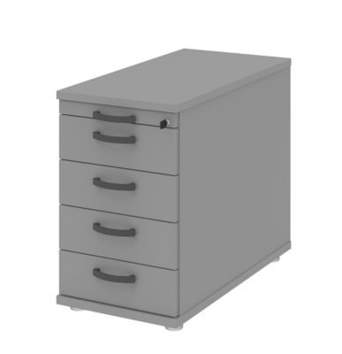 Anstellcontainer BARI, Materialauszug, 4 Schubkästen, abschließbar, B 433 x T 800 x H 720 mm, mittelgrau/mittelgrau