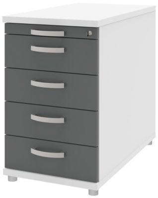 Anstellcontainer BARI, Materialauszug, 4 Schubkästen, abschließbar, B 433 x T 800 x H 720 mm, weiß/anthrazit